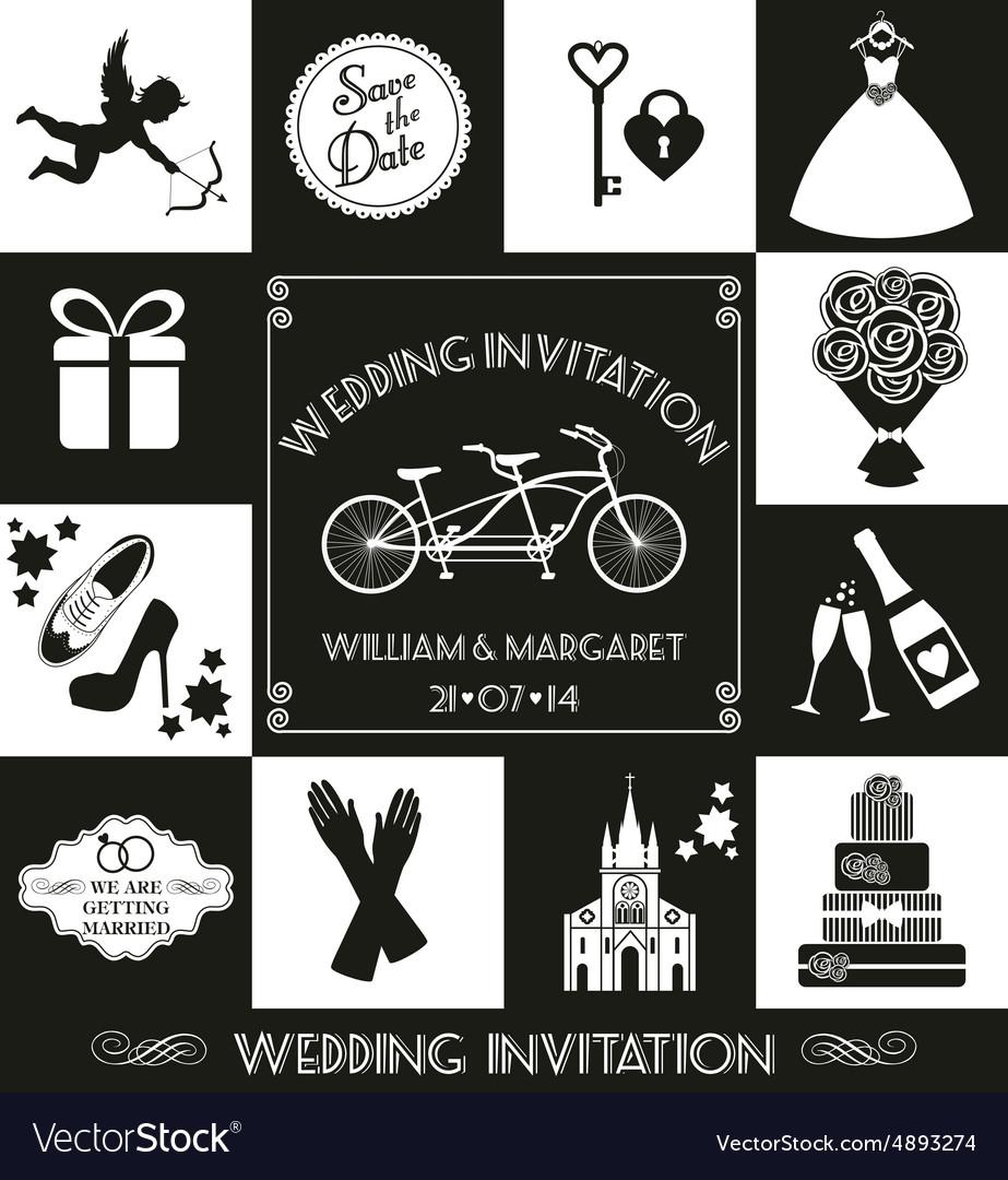 Wedding invitation card vector image on VectorStock