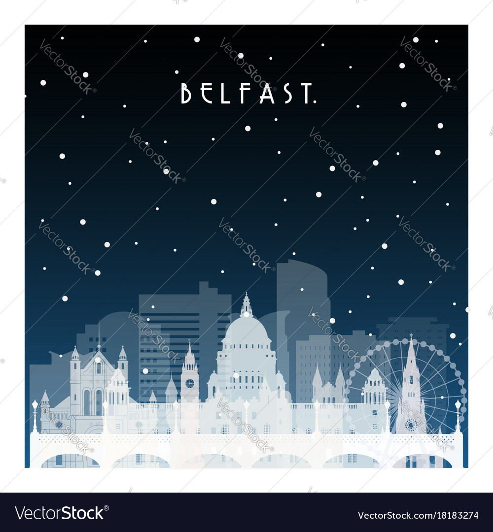 Winter night in belfast night city in flat style