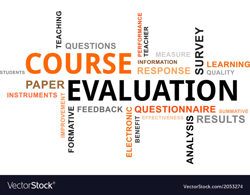 word cloud course evaluation royalty free vector image
