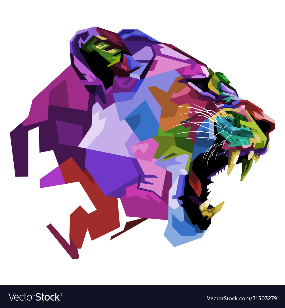 Angry colorful lioness on pop art style