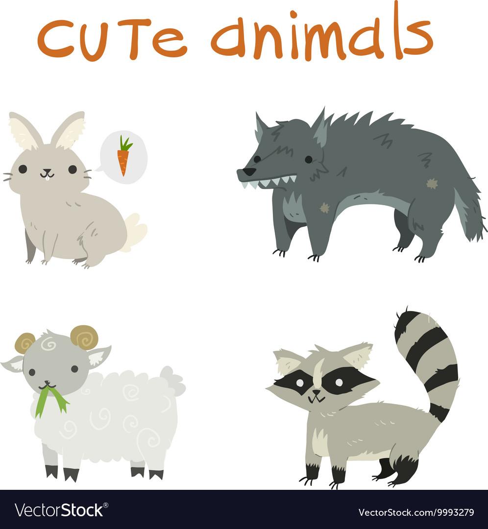 Cartoon set of rabbit wolf sheep raccoon flat