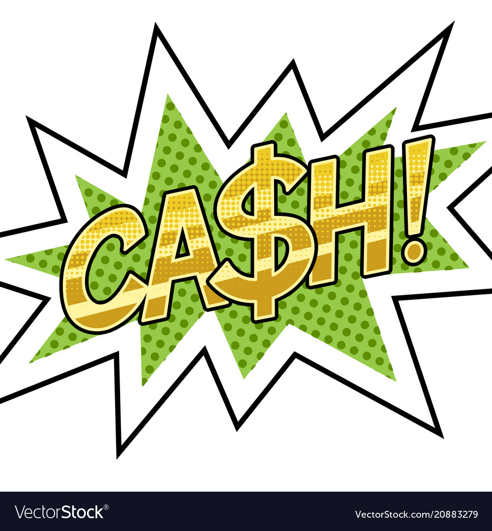 cash word comic book pop art royalty free vector image