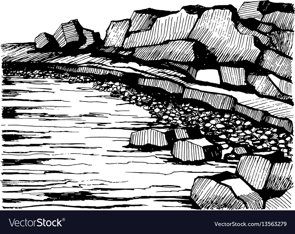 Cliffs beach rocks on the coast