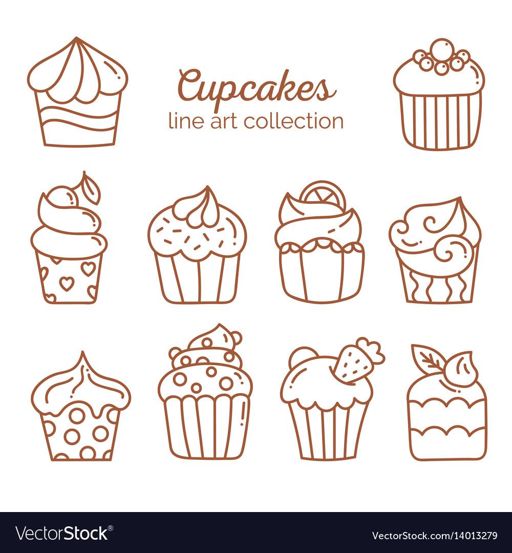 Cupcake line art collection
