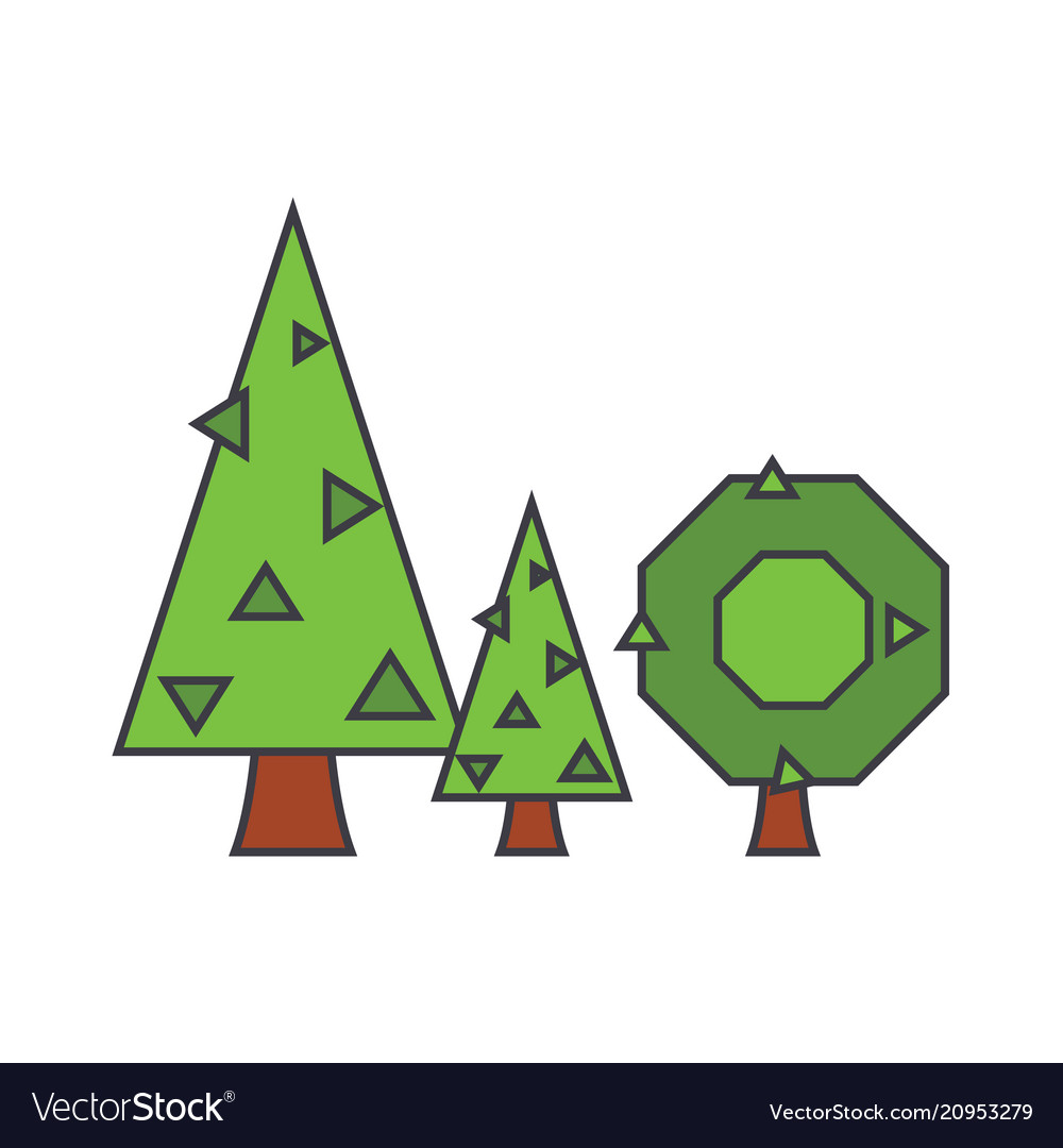 Fir tree line icon concept fir tree flat