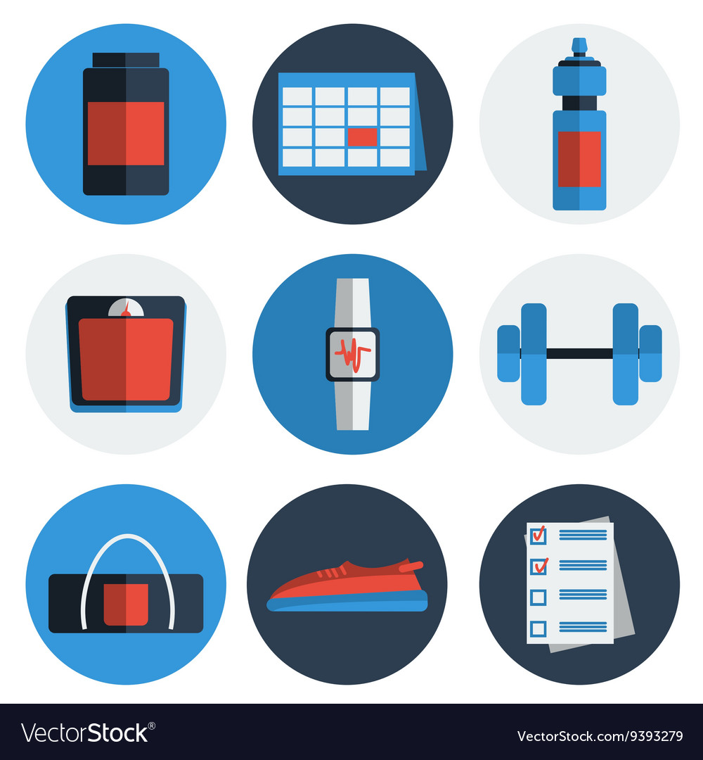 Flat icons set of fitness sport