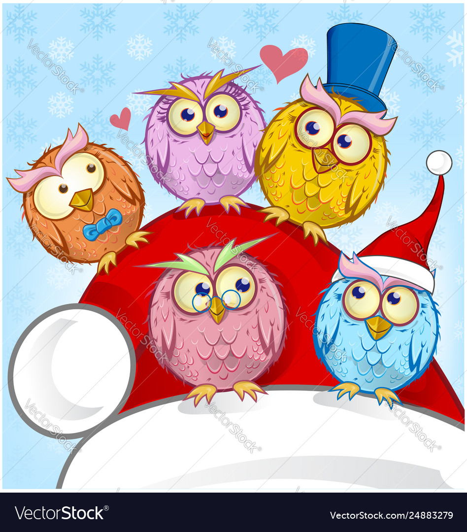 Greeting christmas card five owls on blue