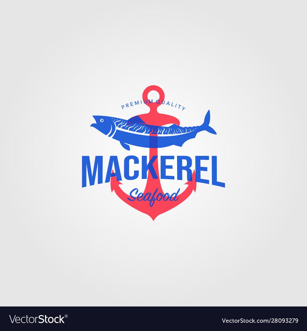 Mackerel fish logo vintage seafood with anchor