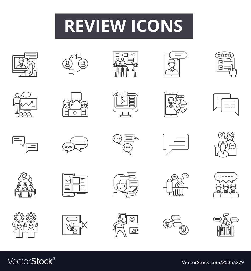Review line icons signs set linear