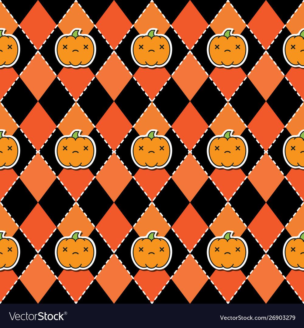 Seamless halloween pattern with pumpkins on argyle