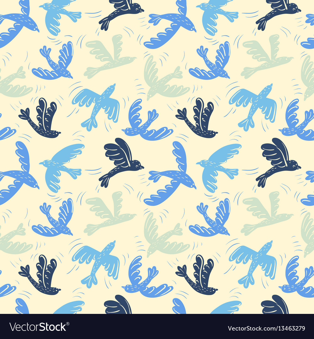 Silhouette flying birds seamless pattern