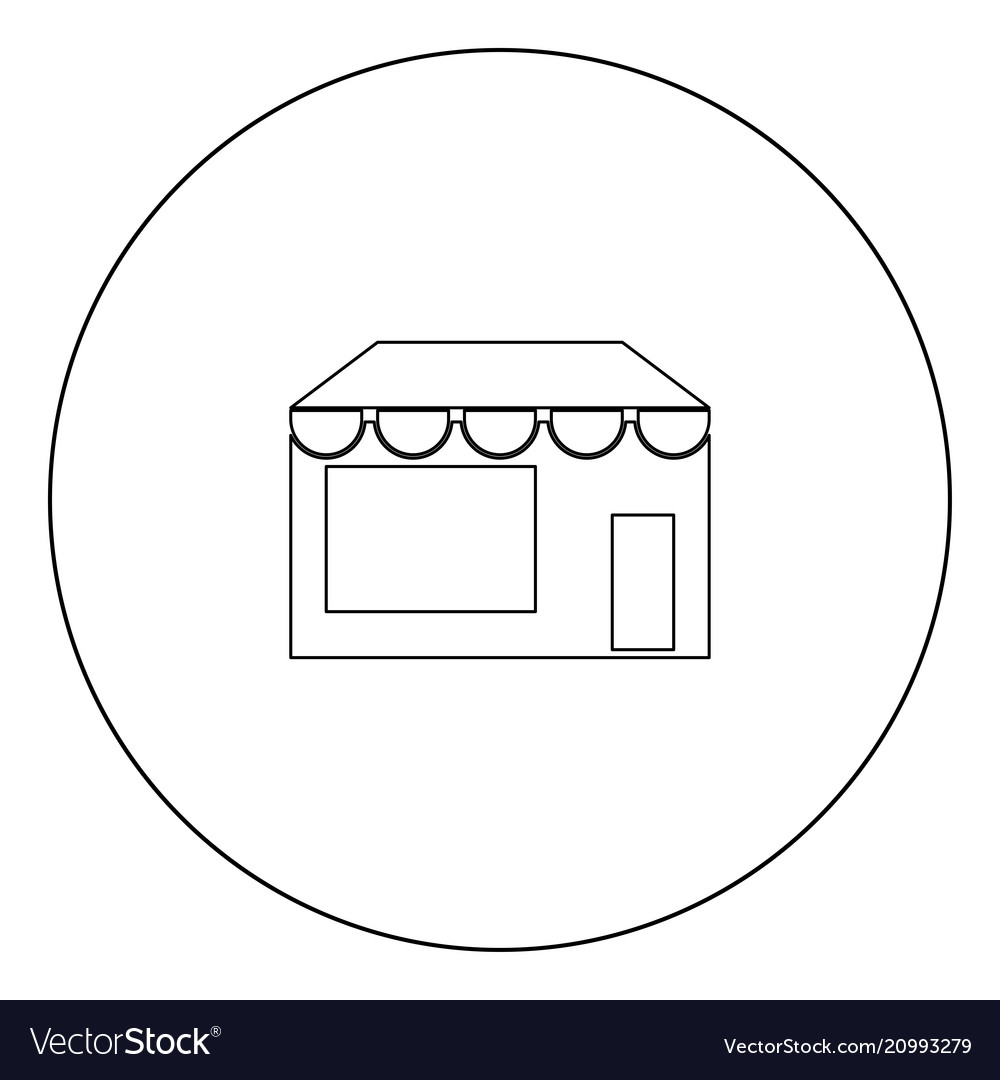 Store icon black color in circle
