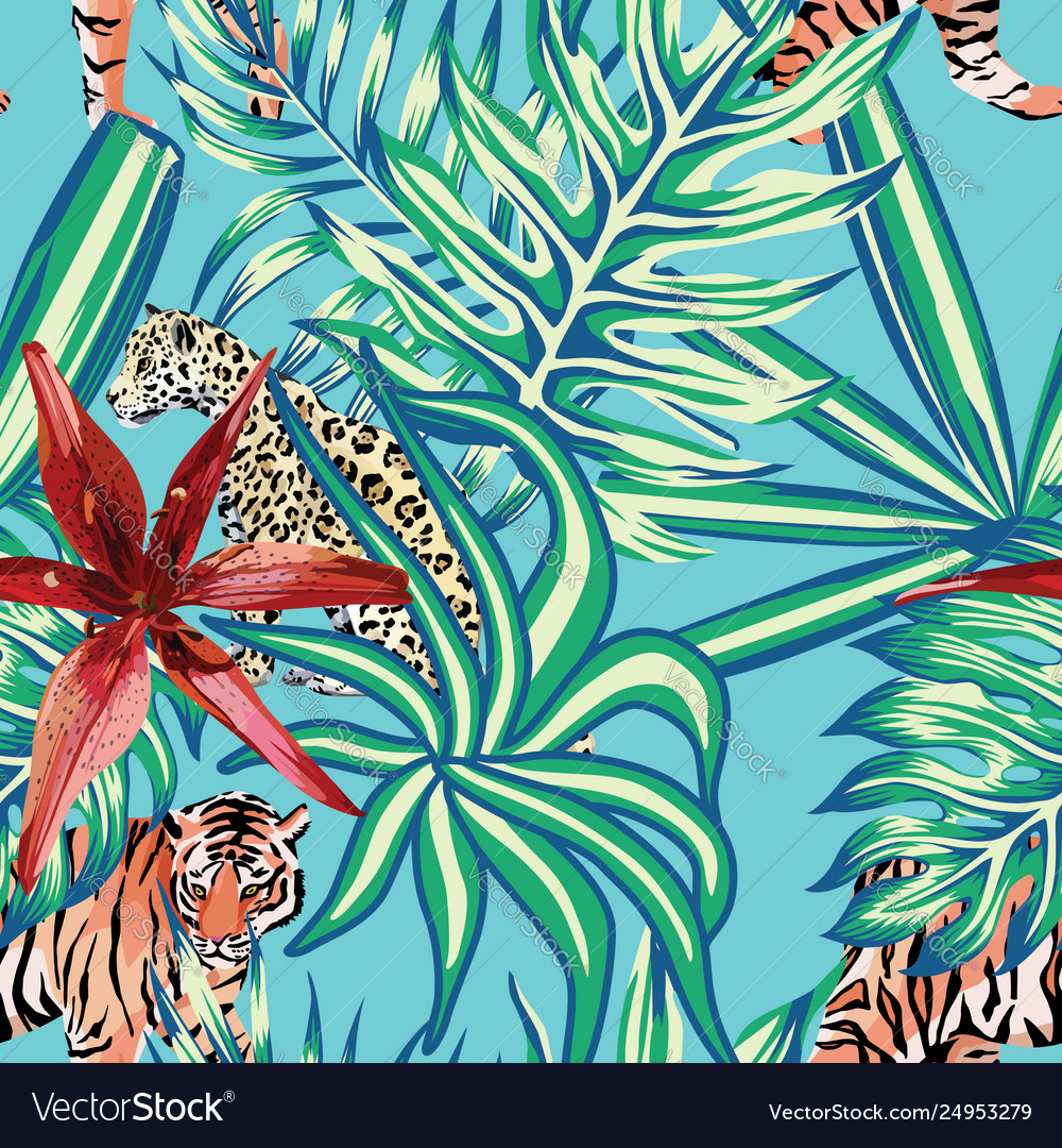 Tiger leopard tropical leaves lily seamless