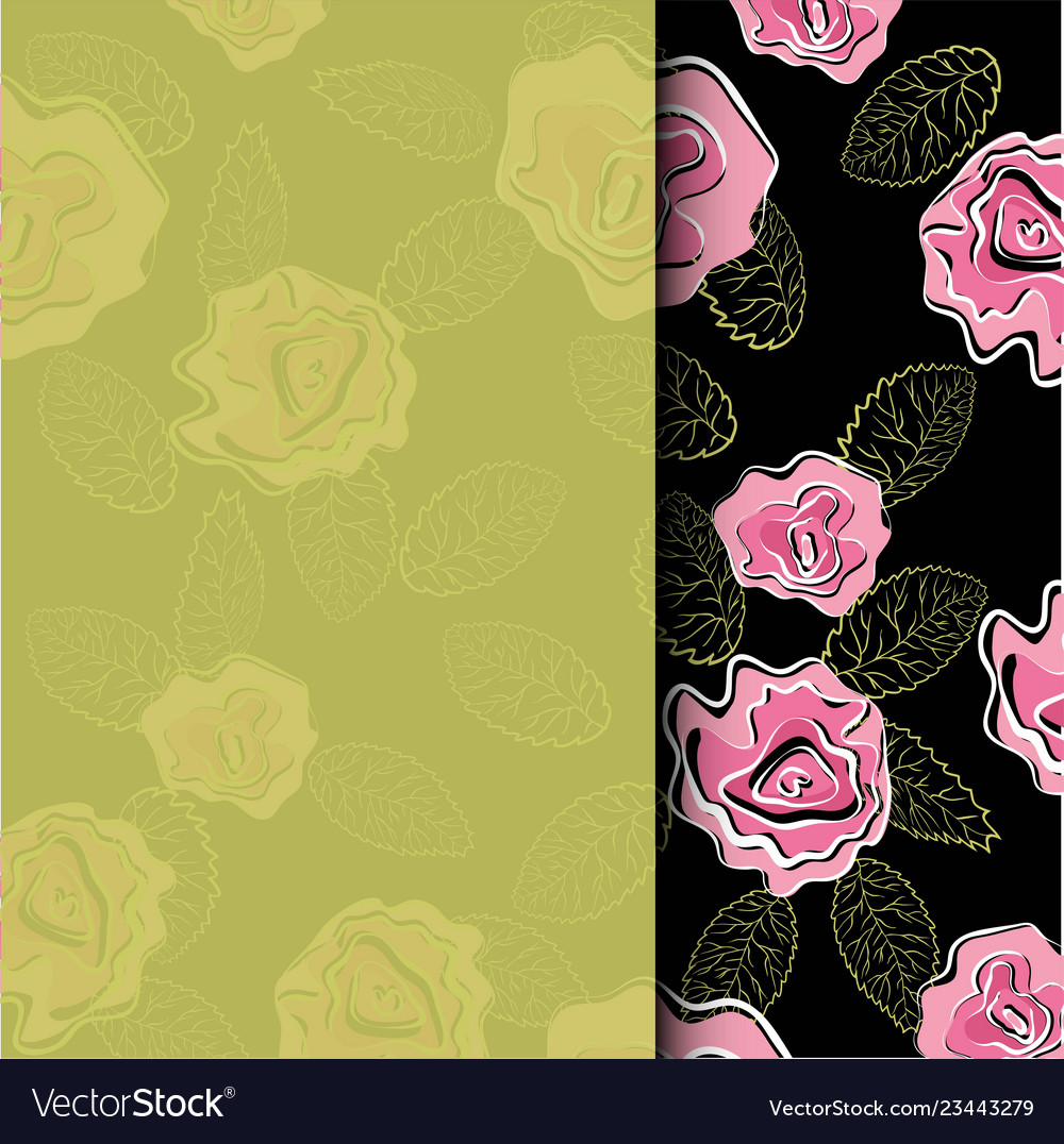 Wedding invitation card with pink roses flower in