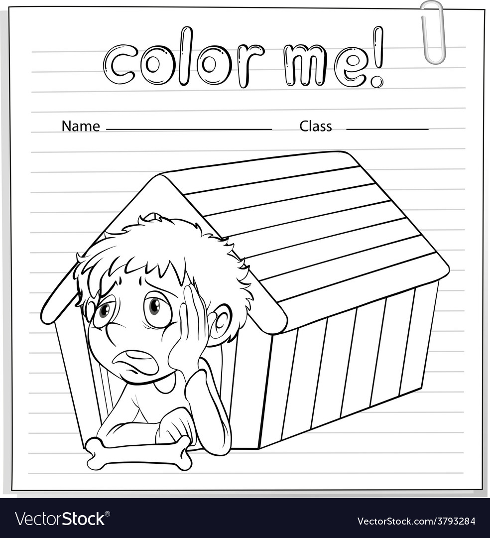 A worksheet showing a young boy