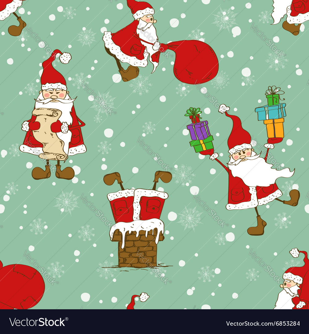 Christmas And New Year Seamless Pattern With Funny