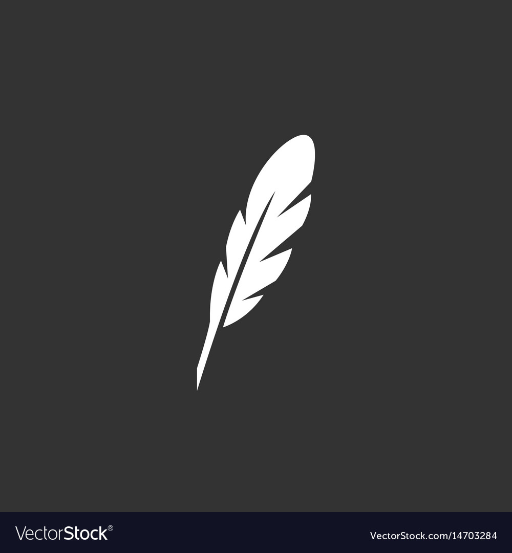 Feather logo icon on black background