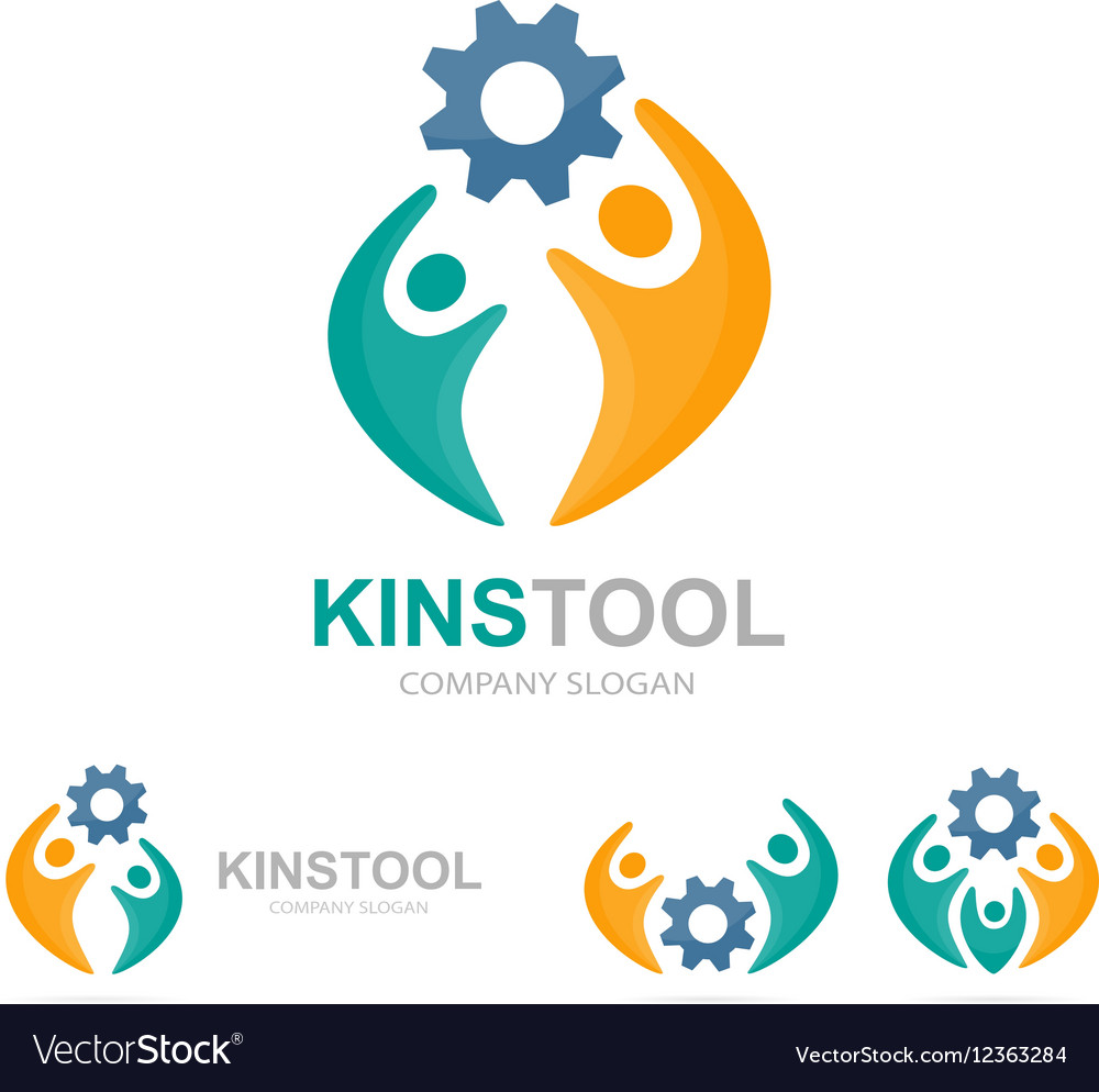 Gear and people logo combination vector image