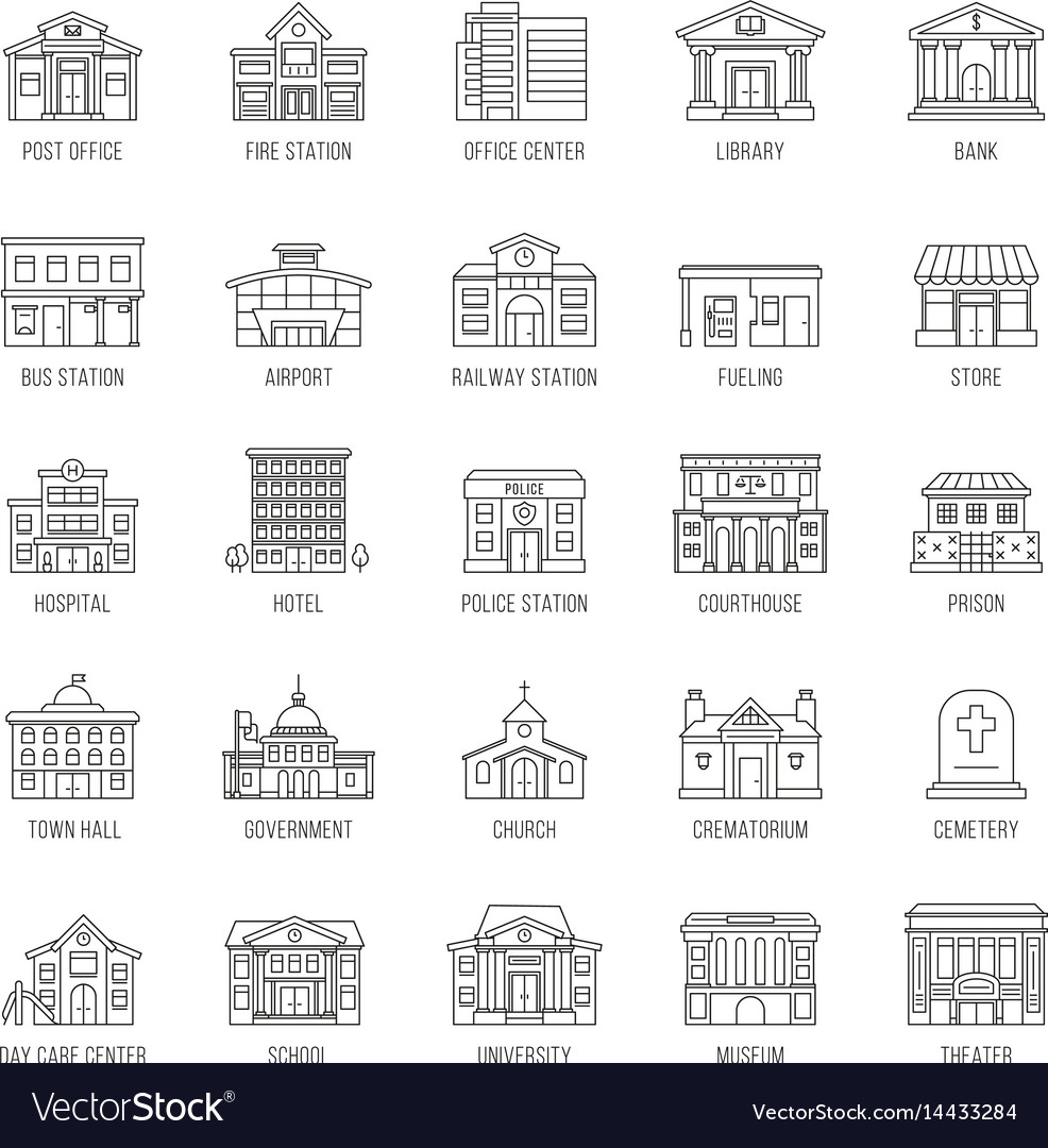 Government buildings thin line icons set