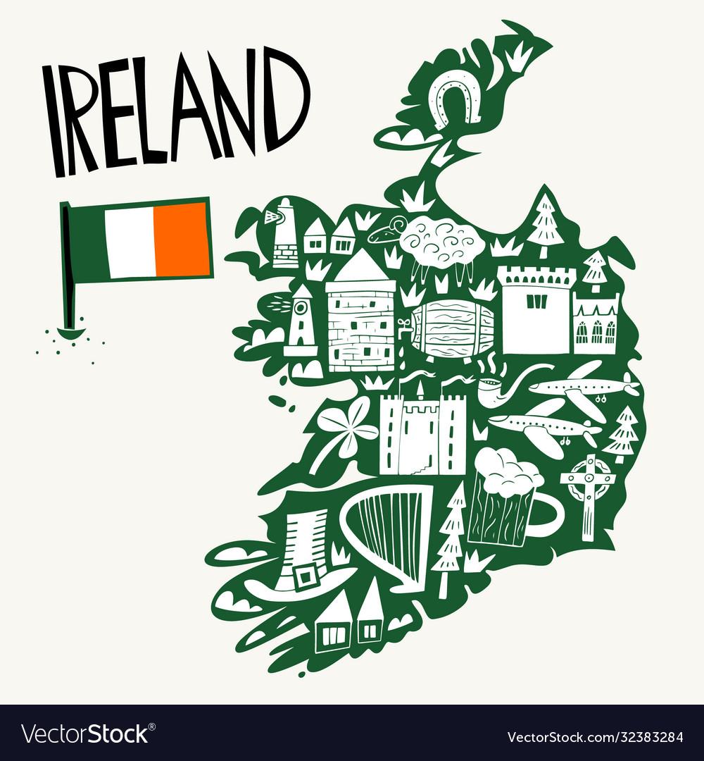 Hand drawn stylized map ireland travel of