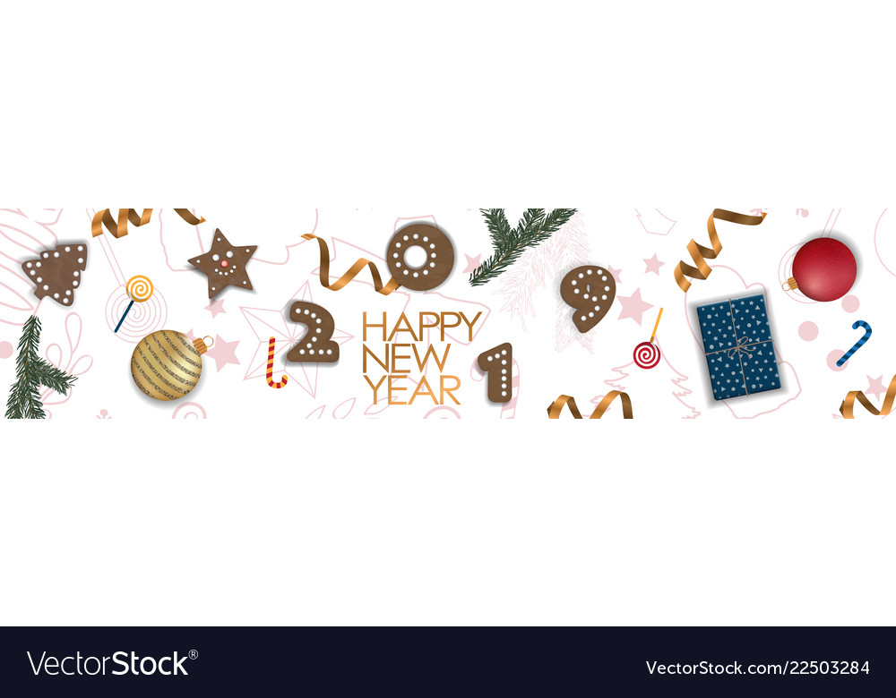 Happy new year 2019 card for your design