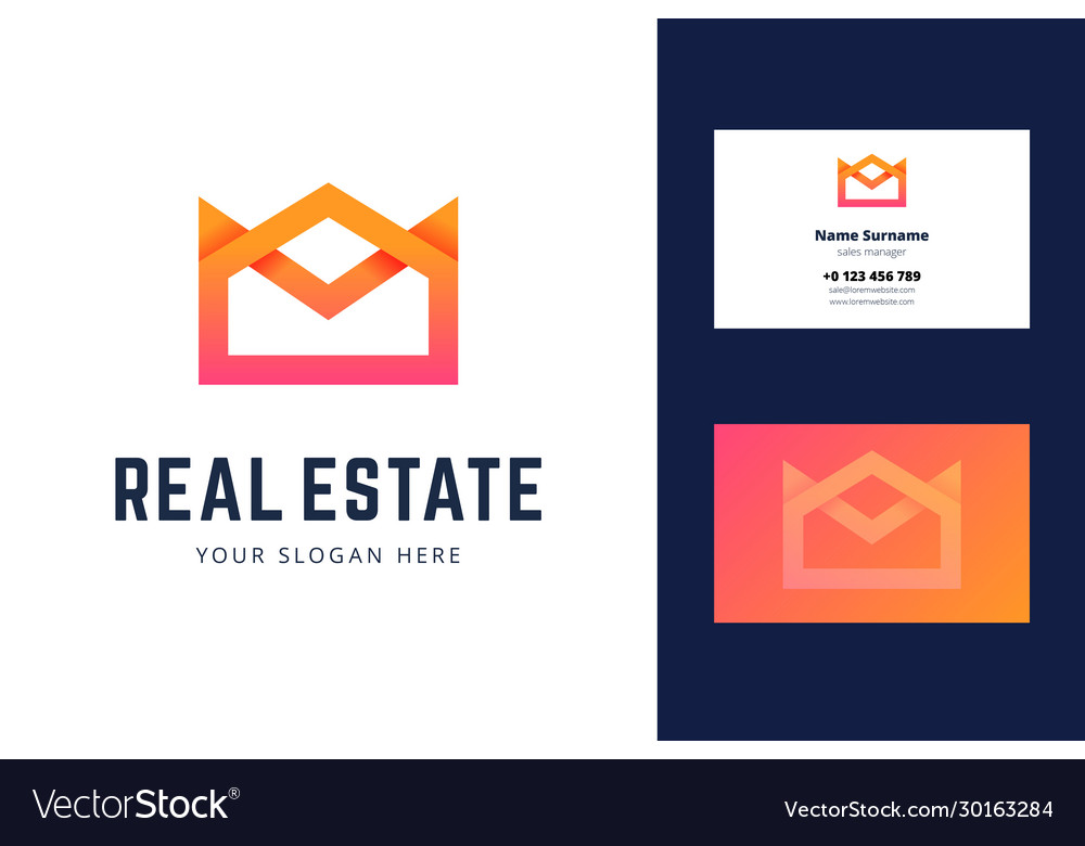 Logo and business card template for real estate