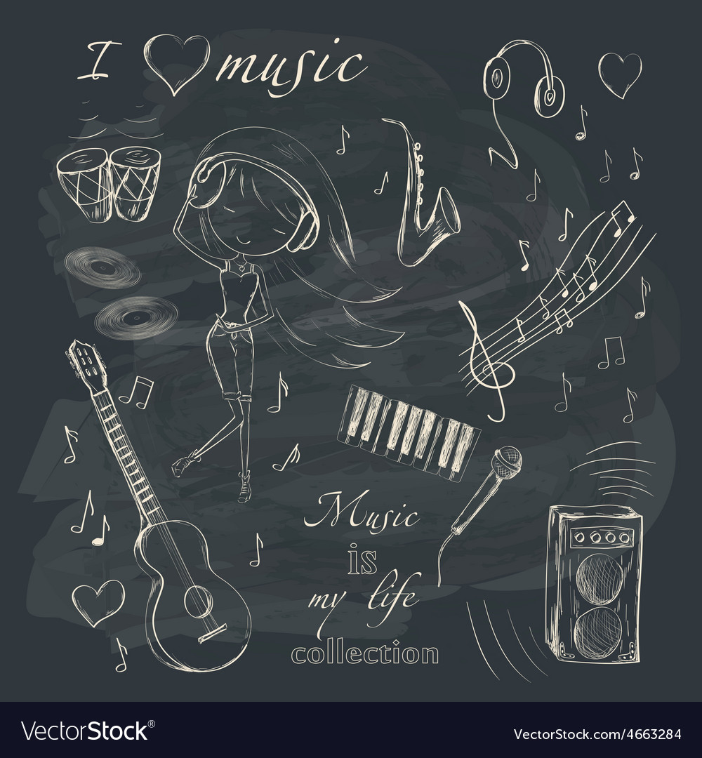 Music and accessories vector image