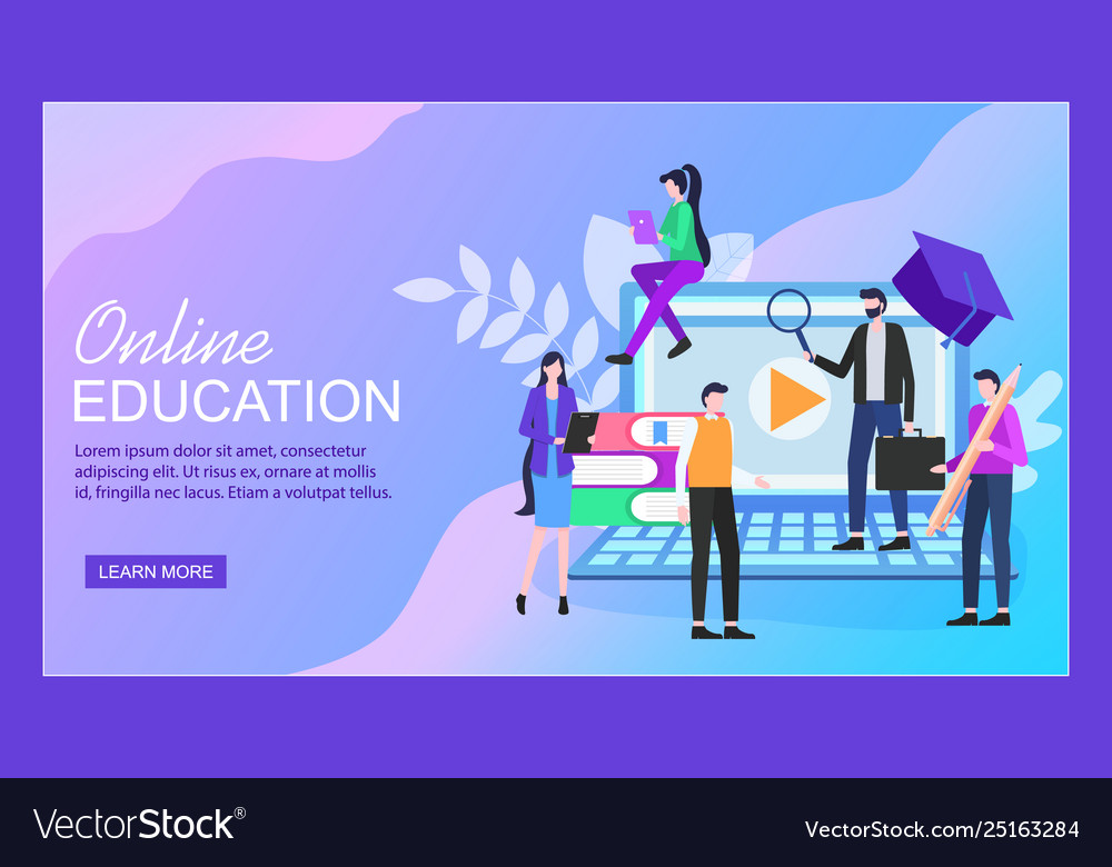 Online education notebook woman man student