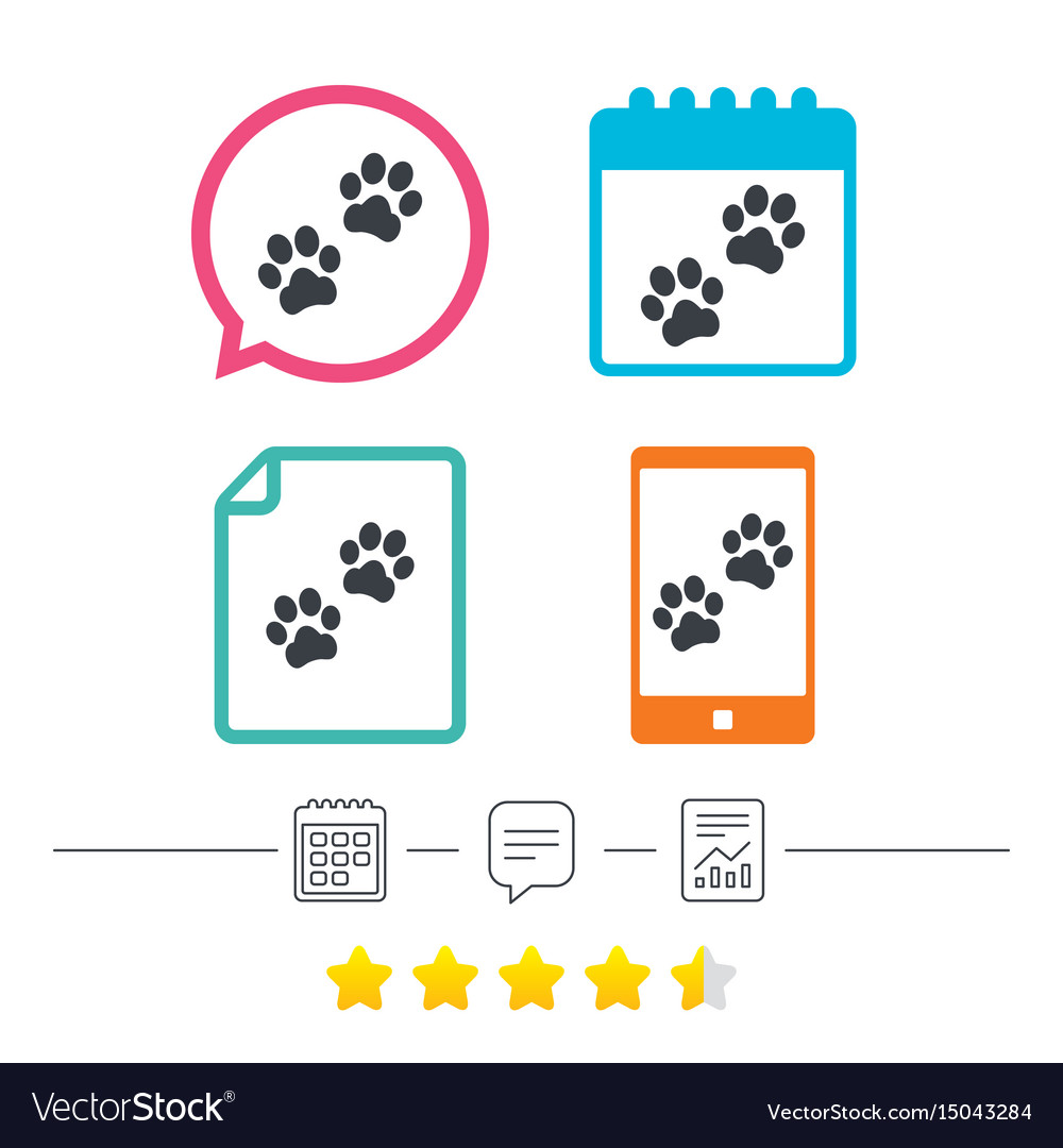 Paw sign icon dog pets steps symbol