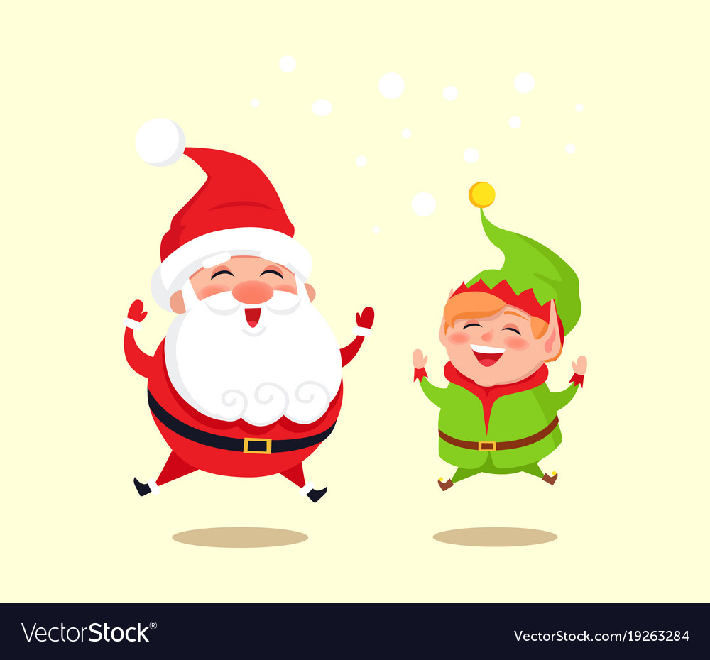 Santa claus and green elf icon vector image