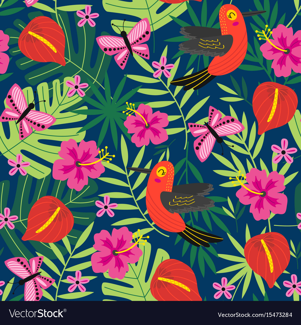 Seamless pattern with tropical nature
