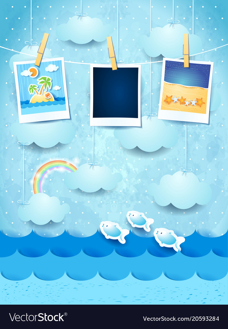Summer background with photo frames Royalty Free Vector