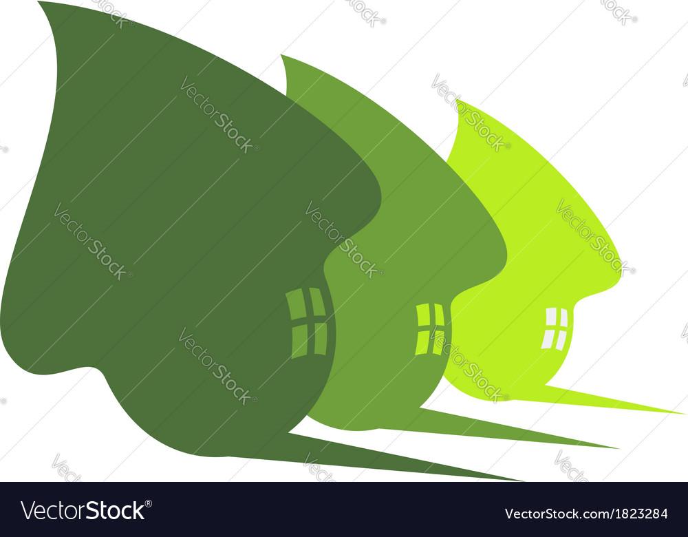 Three cute green eco houses