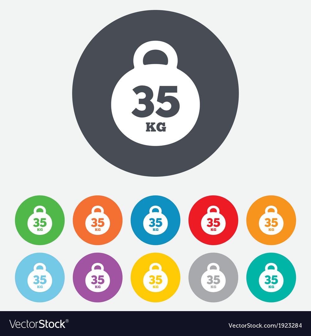 Weight Sign Icon 35 Kilogram Kg Sport Symbol Vector Image