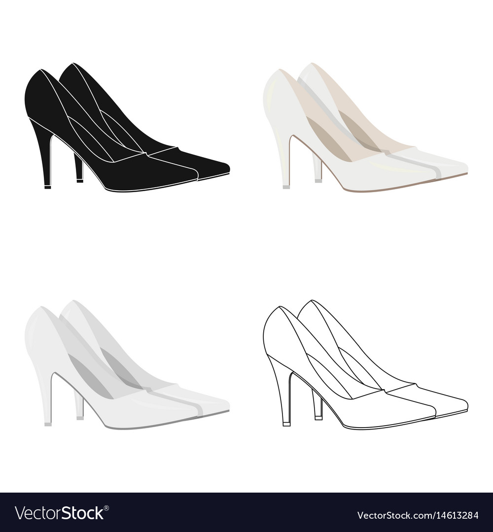 White shoes with heels for the bride clothes of vector image