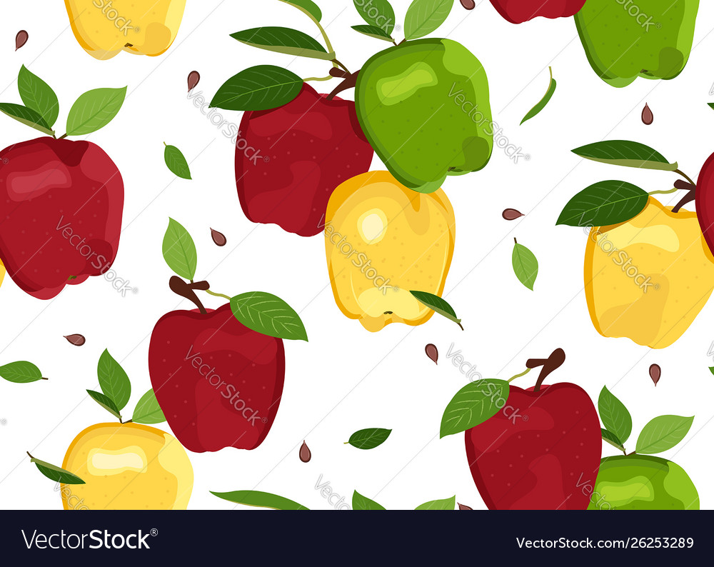Apple colorful seamless pattern on white