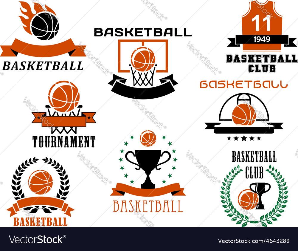 Basketball game emblems and symbols