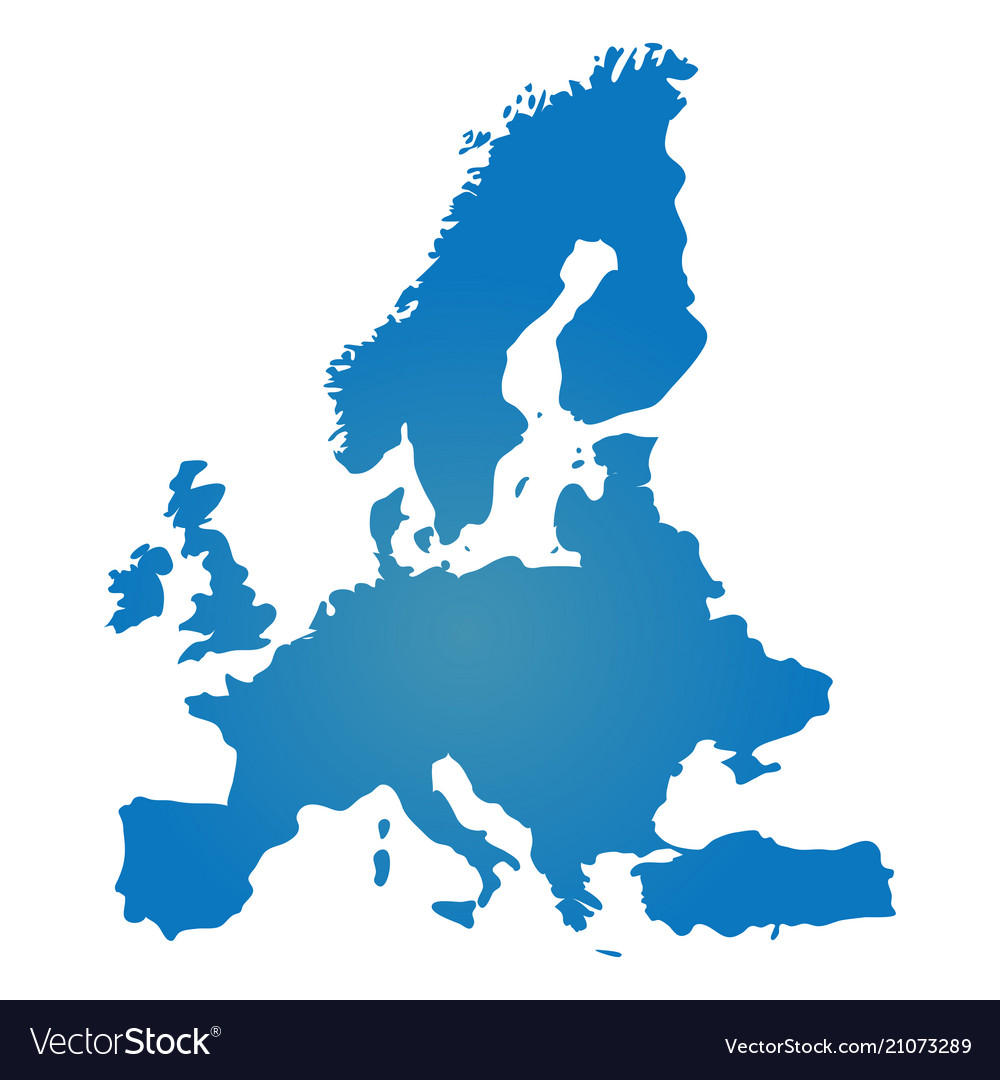 Blank blue similar europe map isolated on white ba