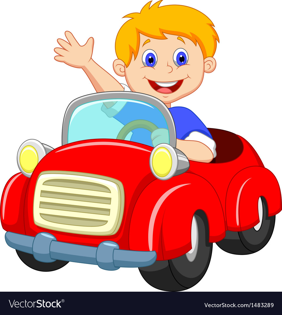 Boy Cartoon In The Red Car Royalty Free Vector Image