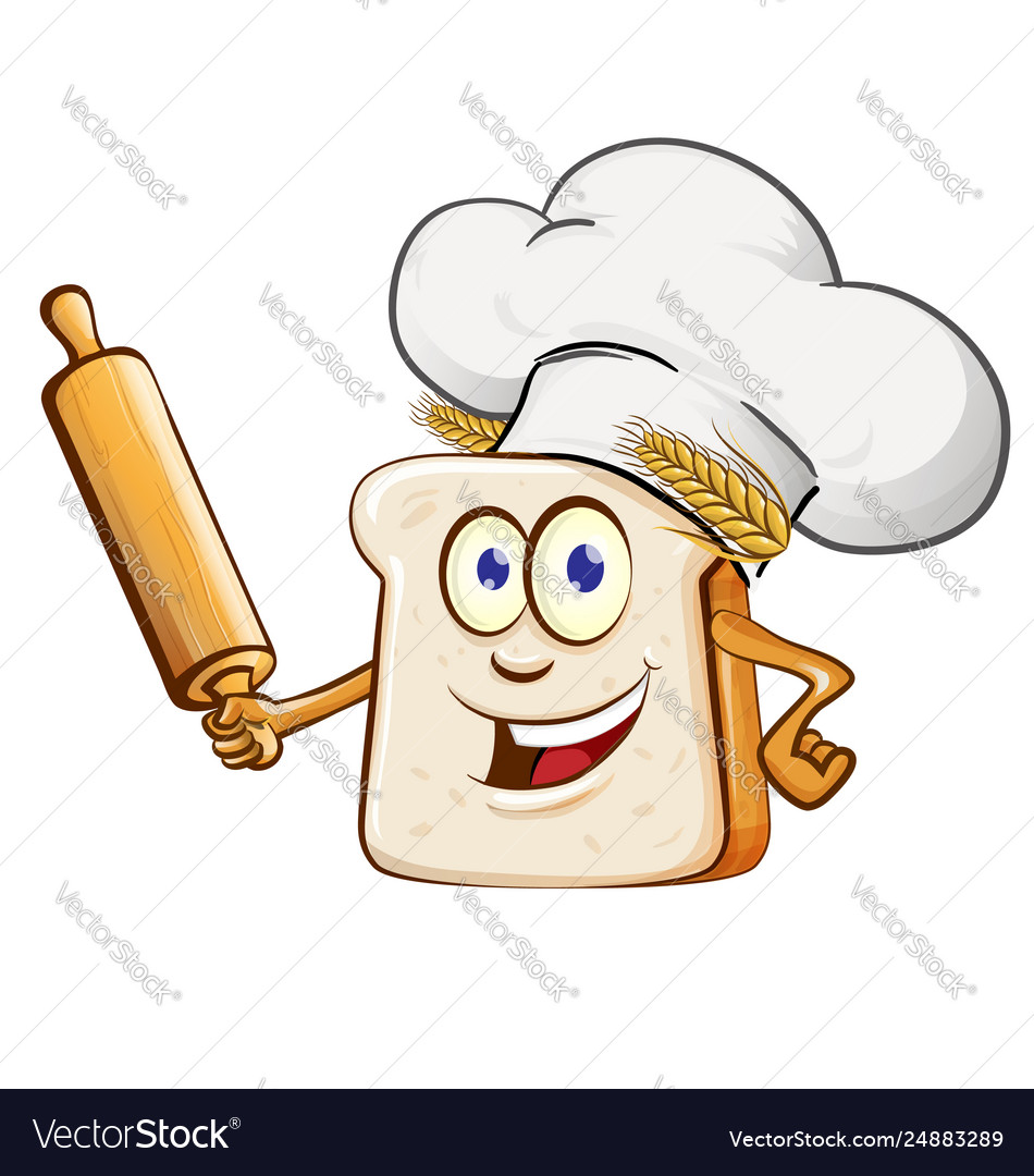 Bread chef with rollin pin cartoon