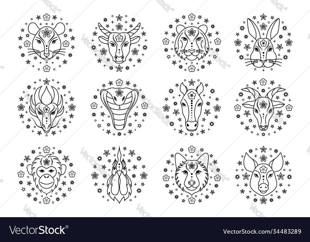 Chinese zodiac signs on white