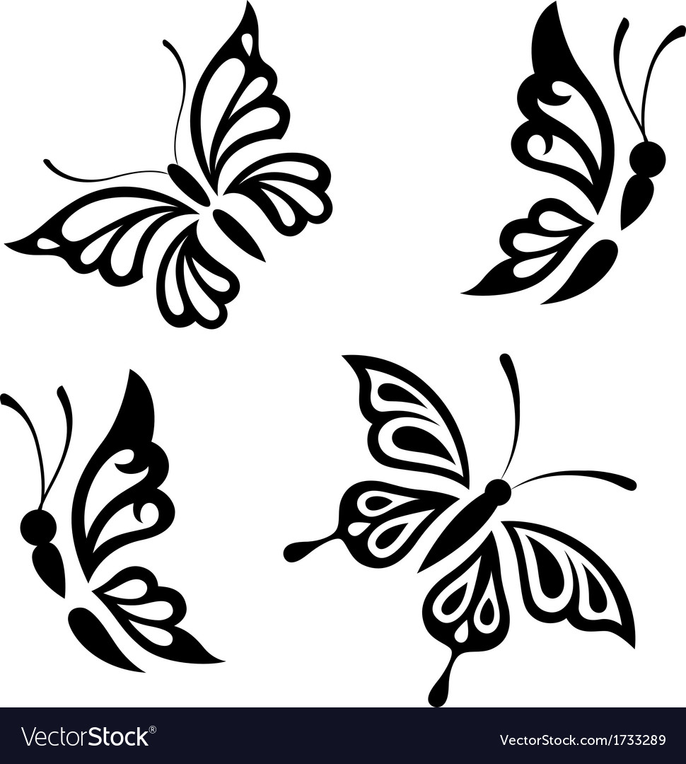 collection black and white butterflies royalty free vector rh vectorstock com butterfly vector images butterfly vector with swirl