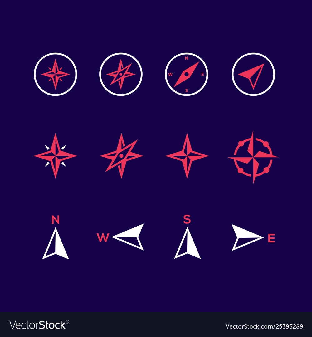 Compass icons on purple background