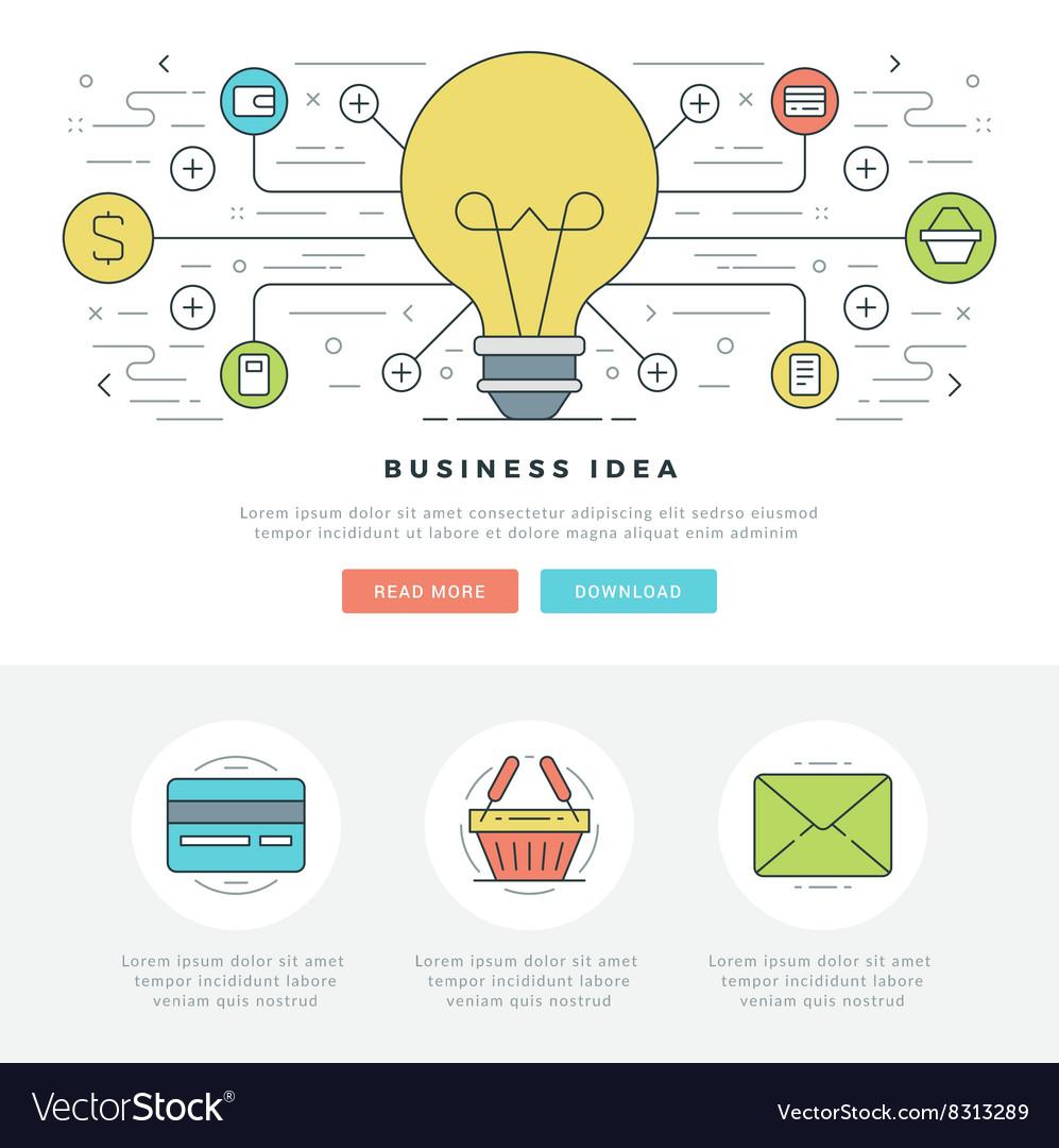 Flat line Business Concept Web Site Header