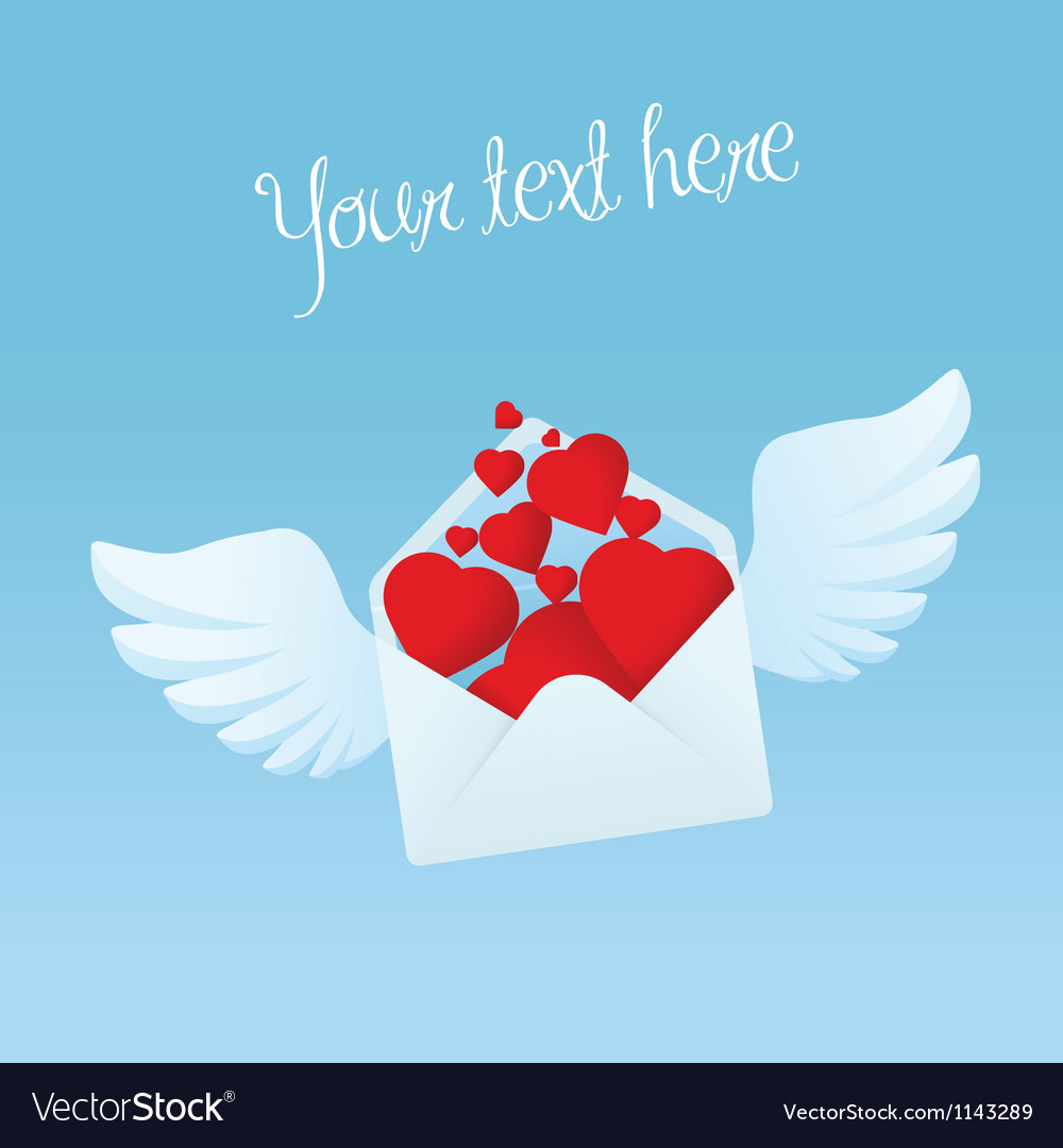 Flying envelope with wings filled with red hearts