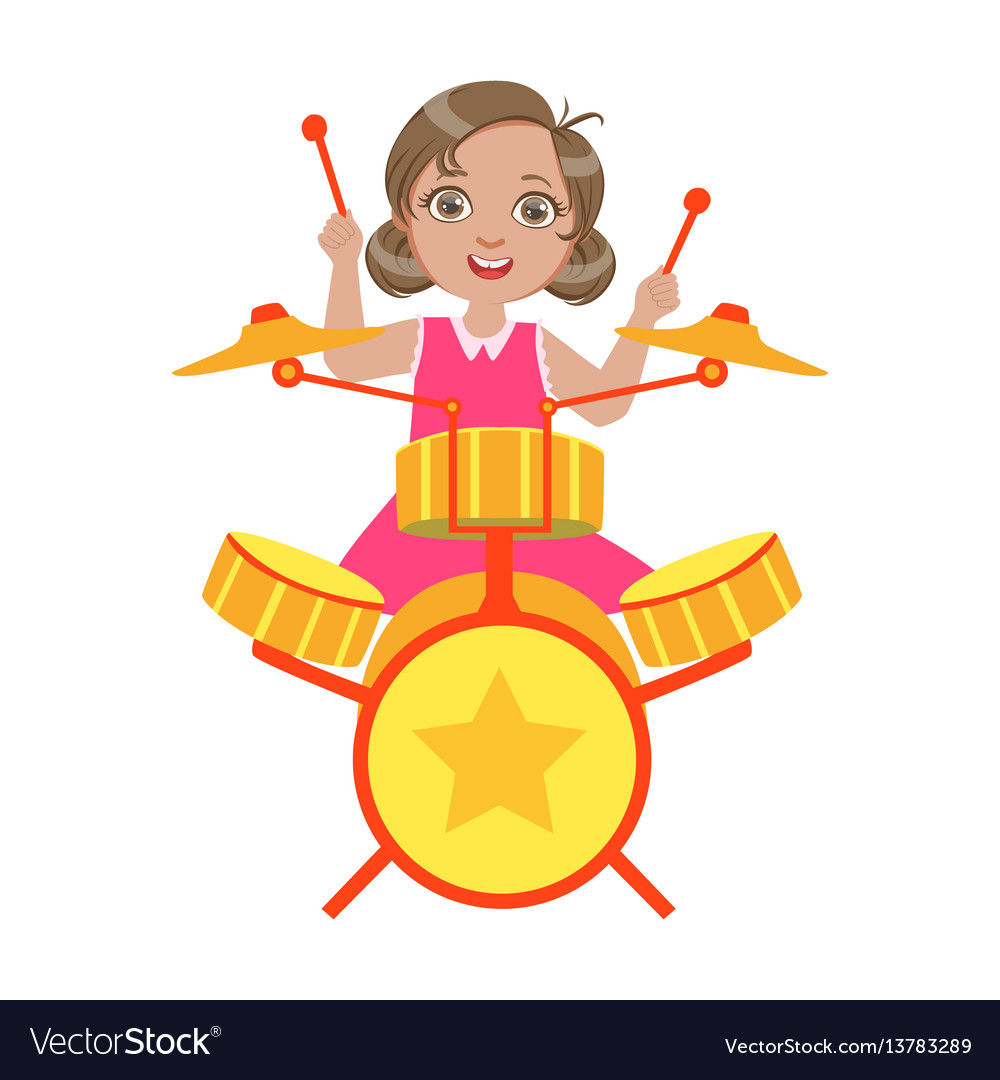 Girl playing drums kid performing on stage vector image