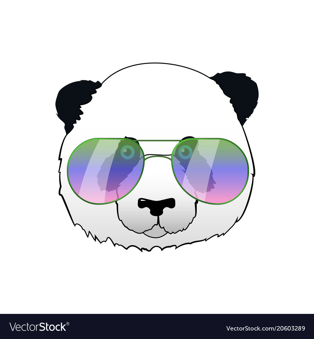 d8abc0979c Hand drawn panda in sun glasses hipster Royalty Free Vector