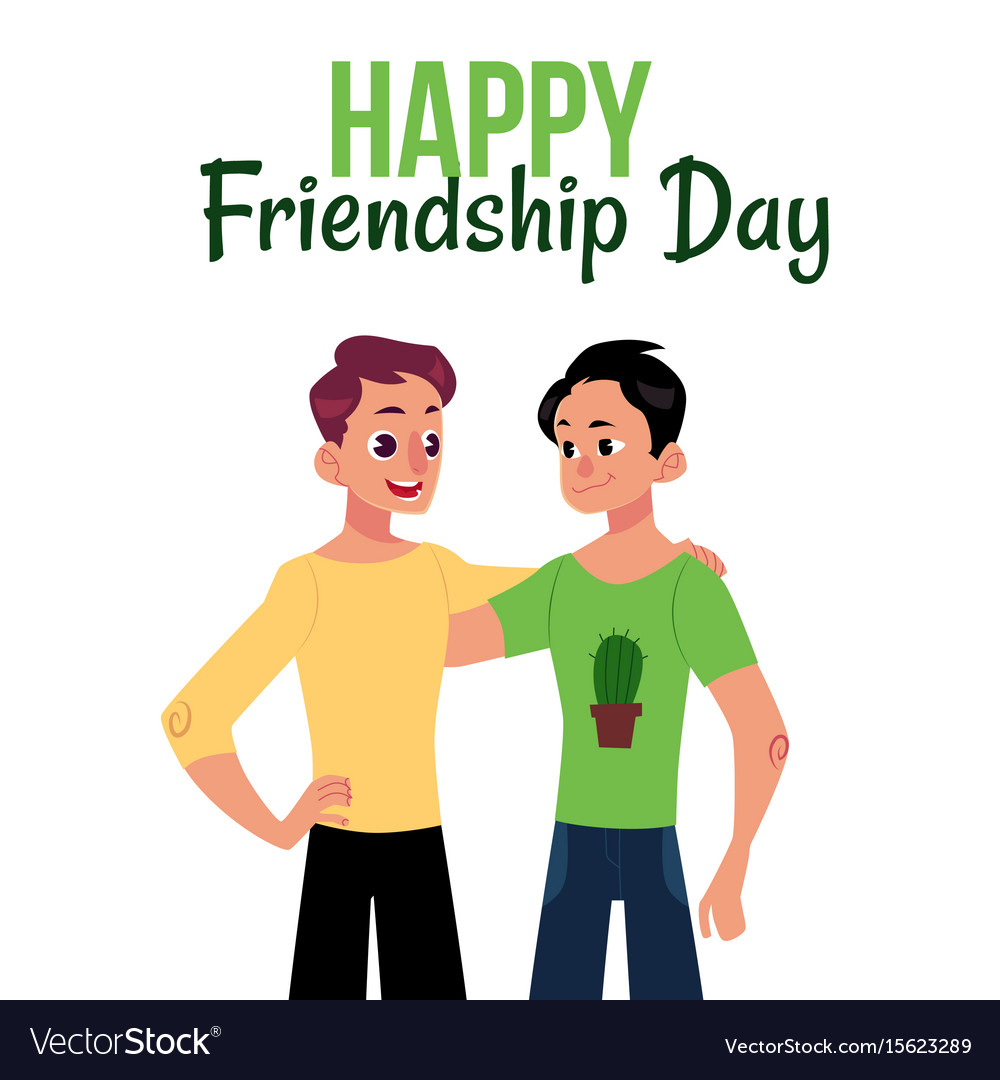 Happy friendship day greeting card with two men vector image m4hsunfo