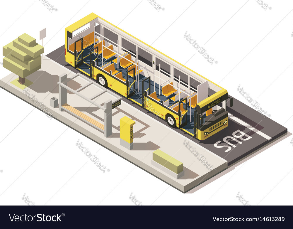 Isometric low poly bus near the bus stop