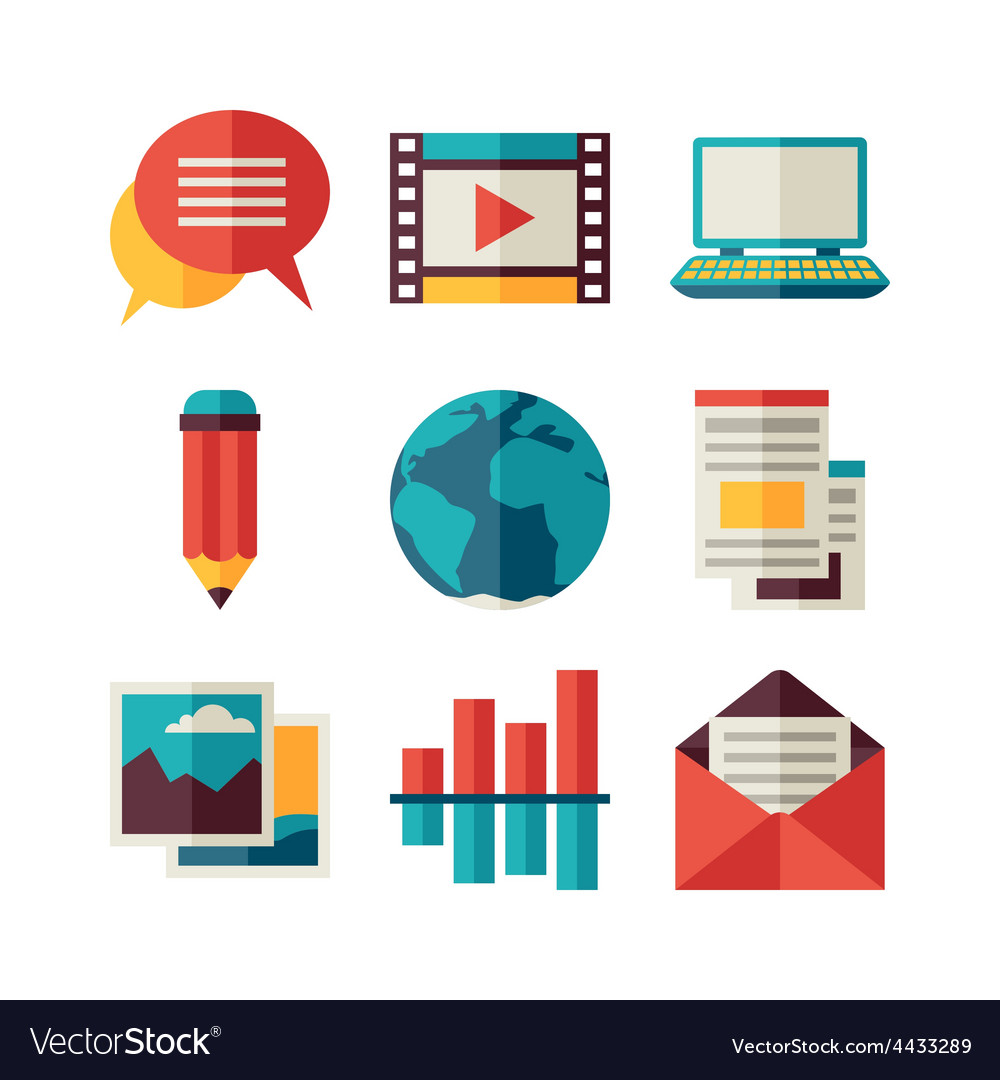 Media and communication set of blog icons vector image